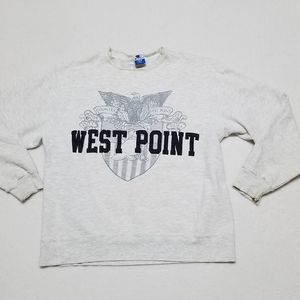 Vintage Champion West Point Gray Heathered Distressed Spell Out Sweatshirt Large